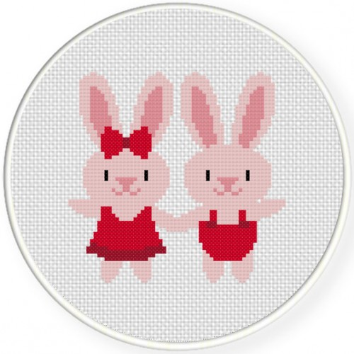 Sweet Bunnies Cross Stitch Illustration
