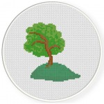 Tree On A Hill Cross Stitch Illustration