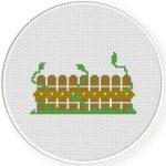 Vine Fence Cross Stitch Illustration