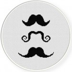 3  Moustaches Cross Stitch Illustration