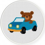 Bear Driving Car Cross Stitch Illustration