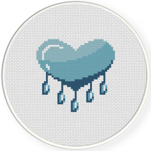 Blue Heart Cross Stitch Illustration