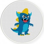 Blue Monster Cross Stitch Illustration