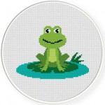 Happy Frog Cross Stitch Illustration
