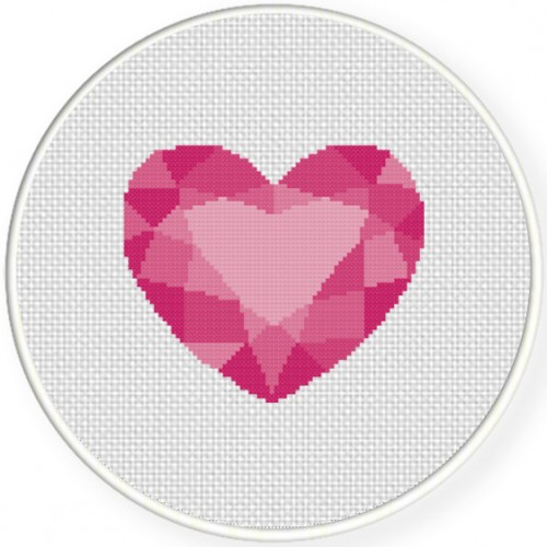 Heart Gem Cross Stitch Illustration