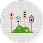 Lovely Bird Houses Cross Stitch Illustration