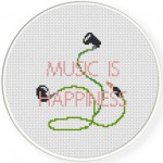 Music Is Happiness Cross Stitch Illustration