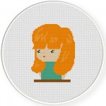 Orange Head Girl Cross Stitch Illustration