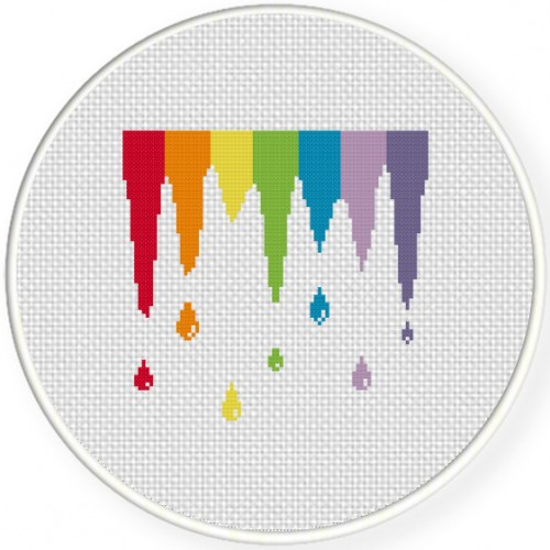 Paint Spill Cross Stitch Illustration