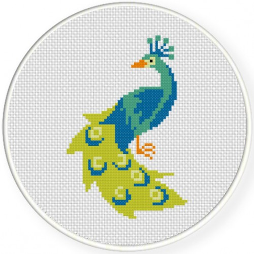 Peacock Cross Stitch Illustration