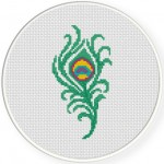 Peacock Feather Cross Stitch Illustration