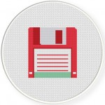 Pink Floppy Disk Cross Stitch Illustration