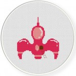 Pink SpaceShip Cross Stitch Illustration