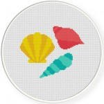 Pretty Seashells Cross Stitch Illustration