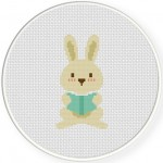 Reading Bunny Cross Stitch Illustration