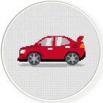 Red Car Cross Stitch Illustration