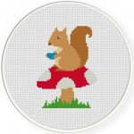 Squirrel Tea Time Cross Stitch Illustration