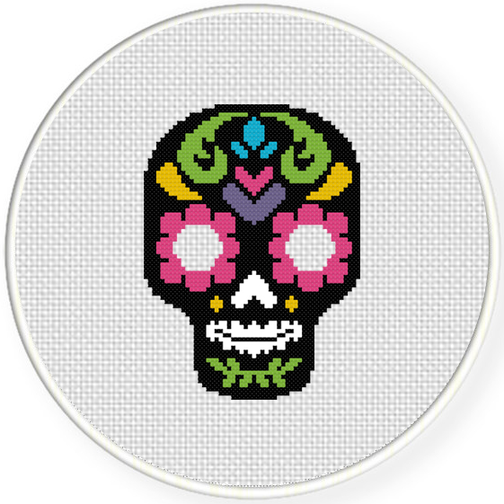 Charts Club Members Only Sugar Skull Cross Stitch Pattern Daily