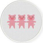 Three Little Pigs Cross Stitch Illustration