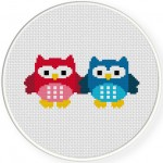Two Owls Cross Stitch Illustration