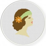 Vintage Lady Cross Stitch Illustration