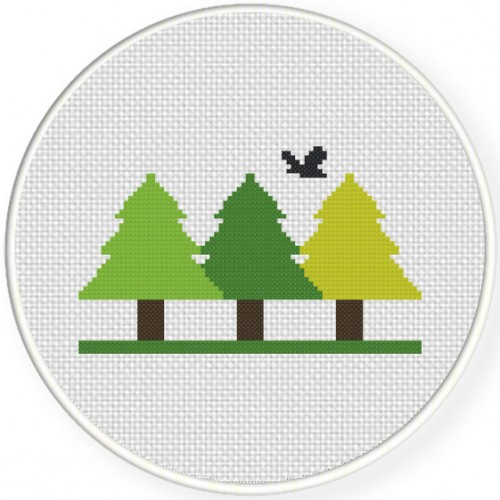 Woodland Cross Stitch Illustration