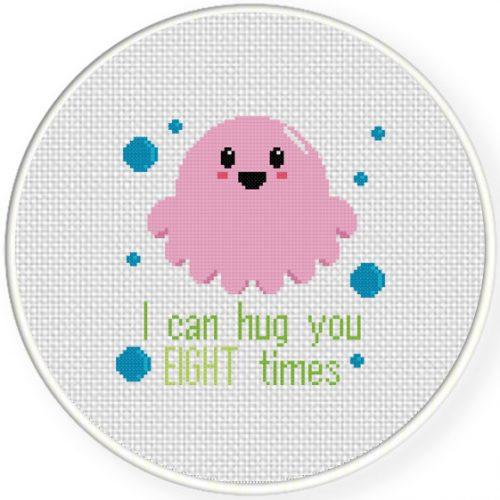 8 Times Hug Cross Stitch Illustration