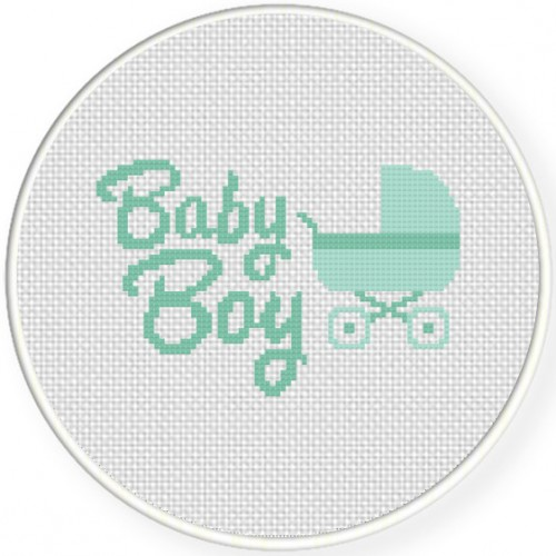 Baby Boy Cross Stitch Illustration