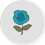Blue Rose Cross Stitch Illustration