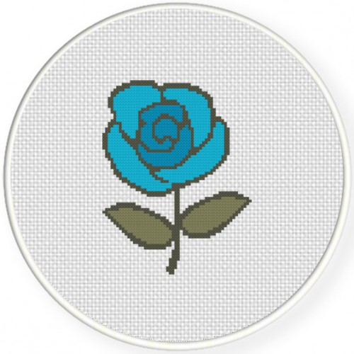 Blue Rose Cross Stitch Illustration