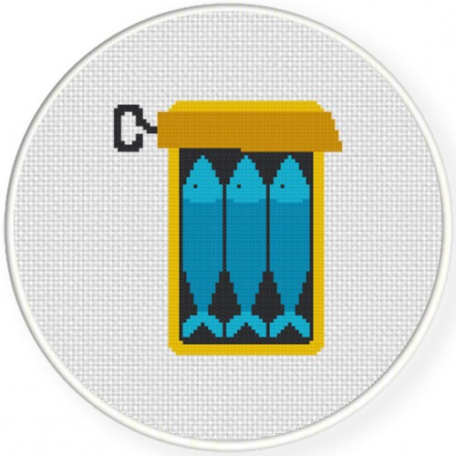 Blue Sardines Cross Stitch Illustration