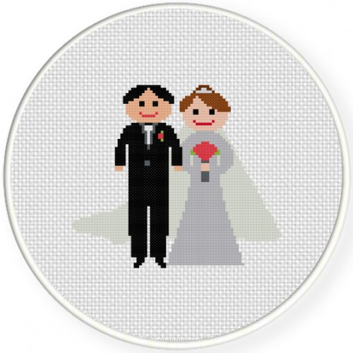 Bride And Groom Cross Stitch Illustration