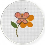 Butterfly In Flower Cross Stitch Illustration