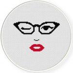 Cats Eye Glasses Cross Stitch Illustration