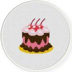 Cherry Chocolate Cake Cross Stitch Illustration