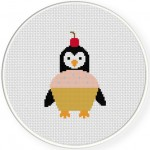 Cupcake Penguin Cross Stitch Illustration