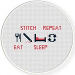 Eat Stitch Sleep Repeat Cross Stitch Illustration