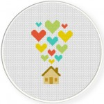 Heart Home Cross Stitch Illustration