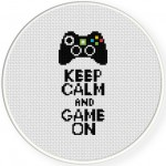 Keep Calm And Game On Cross Stitch Illustration