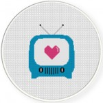 Love On TV Cross Stitch Illustration
