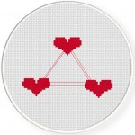 Love Triangle Cross Stitch Illustration