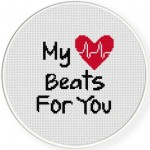 My Heart Beats For You Cross Stitch Illustration