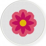 Pink Flower Cross Stitch Illustration