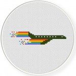 Rainbow Jet Plane Cross Stitch Illustration