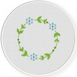 Round Floral Border Cross Stitch Illustration