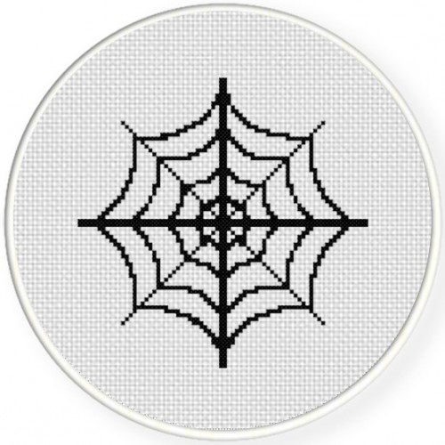 Spider Web Cross Stitch Illustration