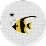 Stripey Fishy Cross Stitch Illustration