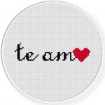 Te Amo Cross Stitch Illustration