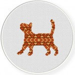 Tribal Cat Cross Stitch Illustration