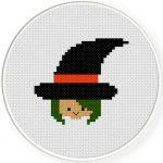 Witch Head Cross Stitch Illustration